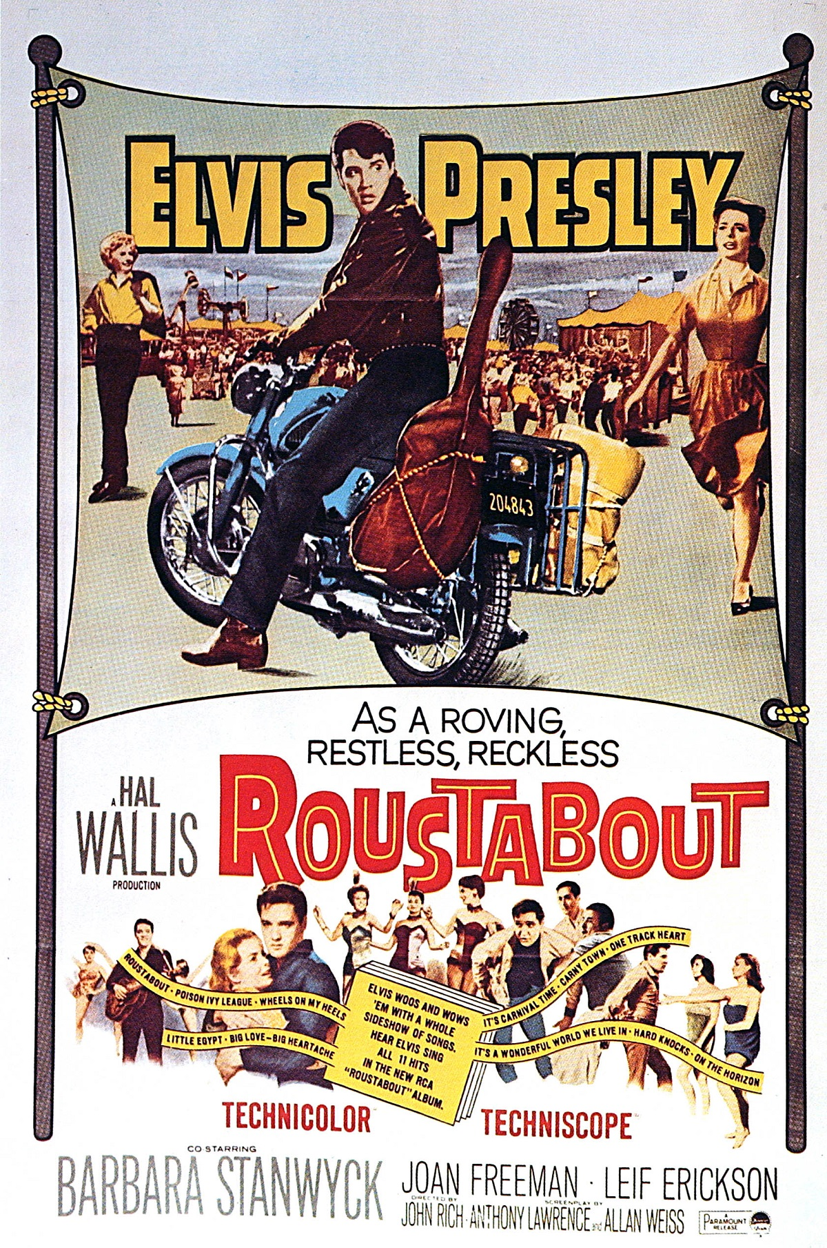 Film poster for 'Roustabout' with Elvis Presley