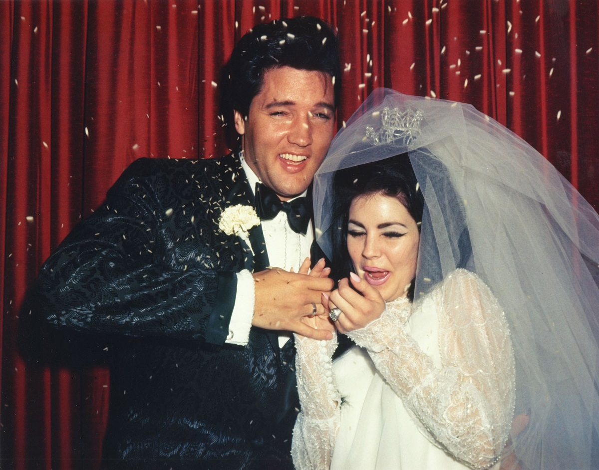 Elvis Presley and Priscilla Presley at their wedding
