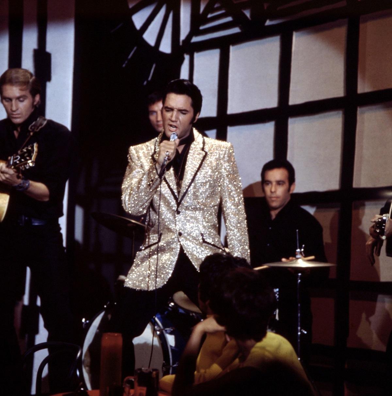 Elvis Presley performing in 1968