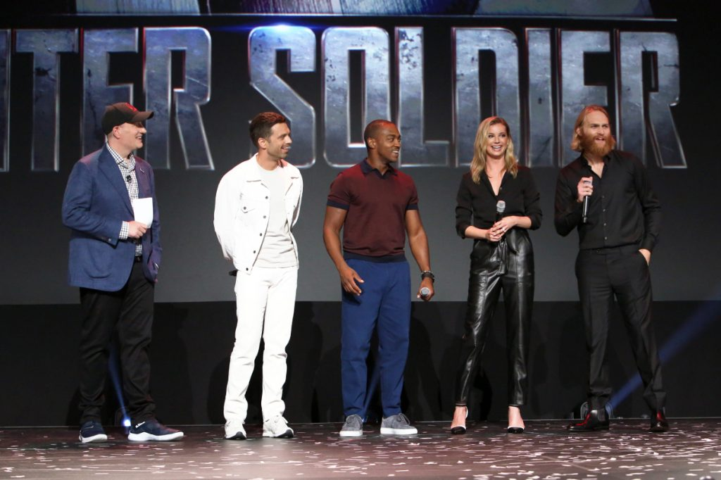 Kevin Feige, Sebastian Stan, Anthony Mackie, Emily VanCamp, and Wyatt Russell of The Falcon and The Winter Soldier stand on a stage