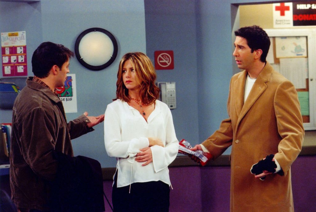 Jennifer Aniston with Matt LeBlanc (left) and David Schwimmer (right) on the set of 'Friends'
