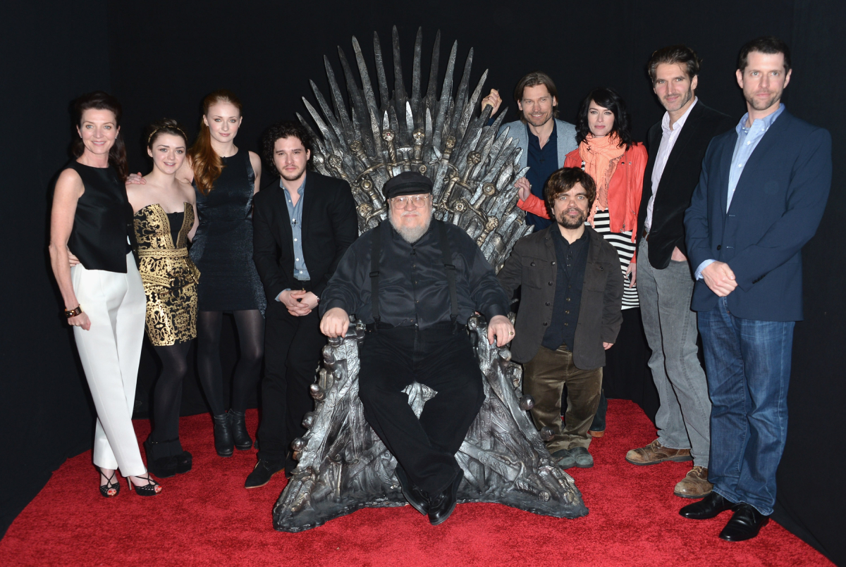 """Actors Michelle Fairley, Maisie Williams, Sophie Turner, Kit Harington, executive producer George R.R. Martin, actors Nikolaj Coster-Waldau, Peter Dinklage, Lena Headey, co-creator/executive producer David Banioff and co-creator/executive producer D.B. Weiss attend The Academy of Television Arts & Sciences' Presents An Evening With """"Game of Thrones"""" at TCL Chinese Theatre"""