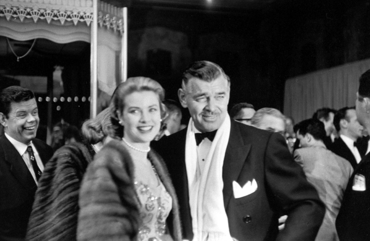 Actor Clark Gable with actress Grace Kelly