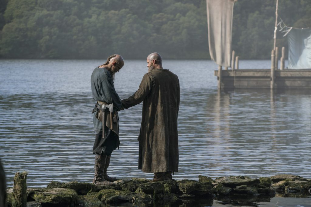 Gustaf Skarsgård and Travis Fimmel in 'Vikings'