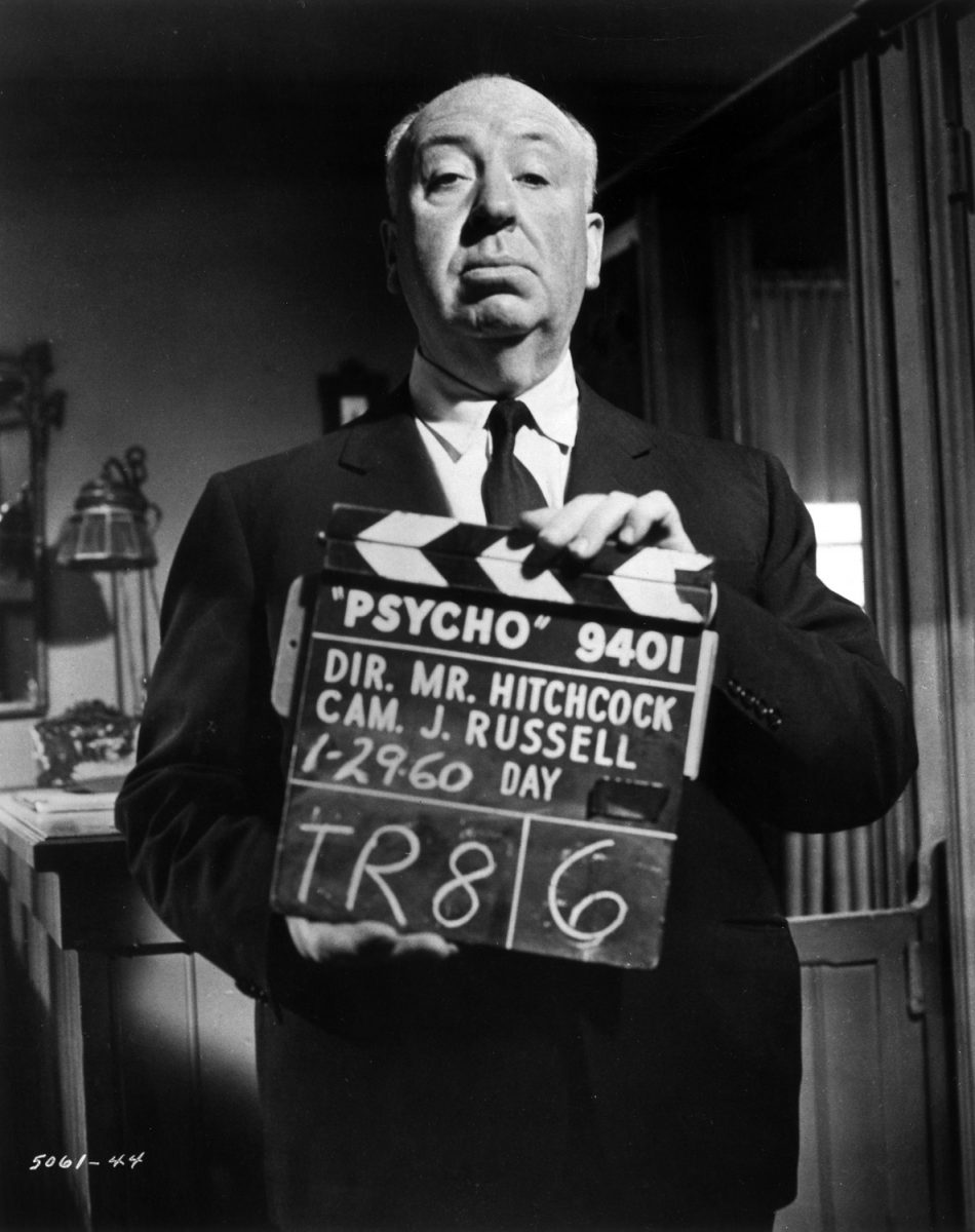 Alfred Hitchcock on the set of 'Psycho' in 1960