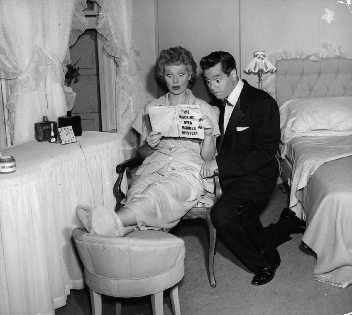Lucille Ball and Desi Arnaz in pilot episode of television series 'I Love Lucy', 1951