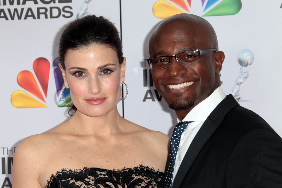 Actress Idina Menzel (L) and actor Taye Diggs arrive at the 43rd NAACP Image Awards held at The Shrine Auditorium on February 17, 2012 in Los Angeles, California.