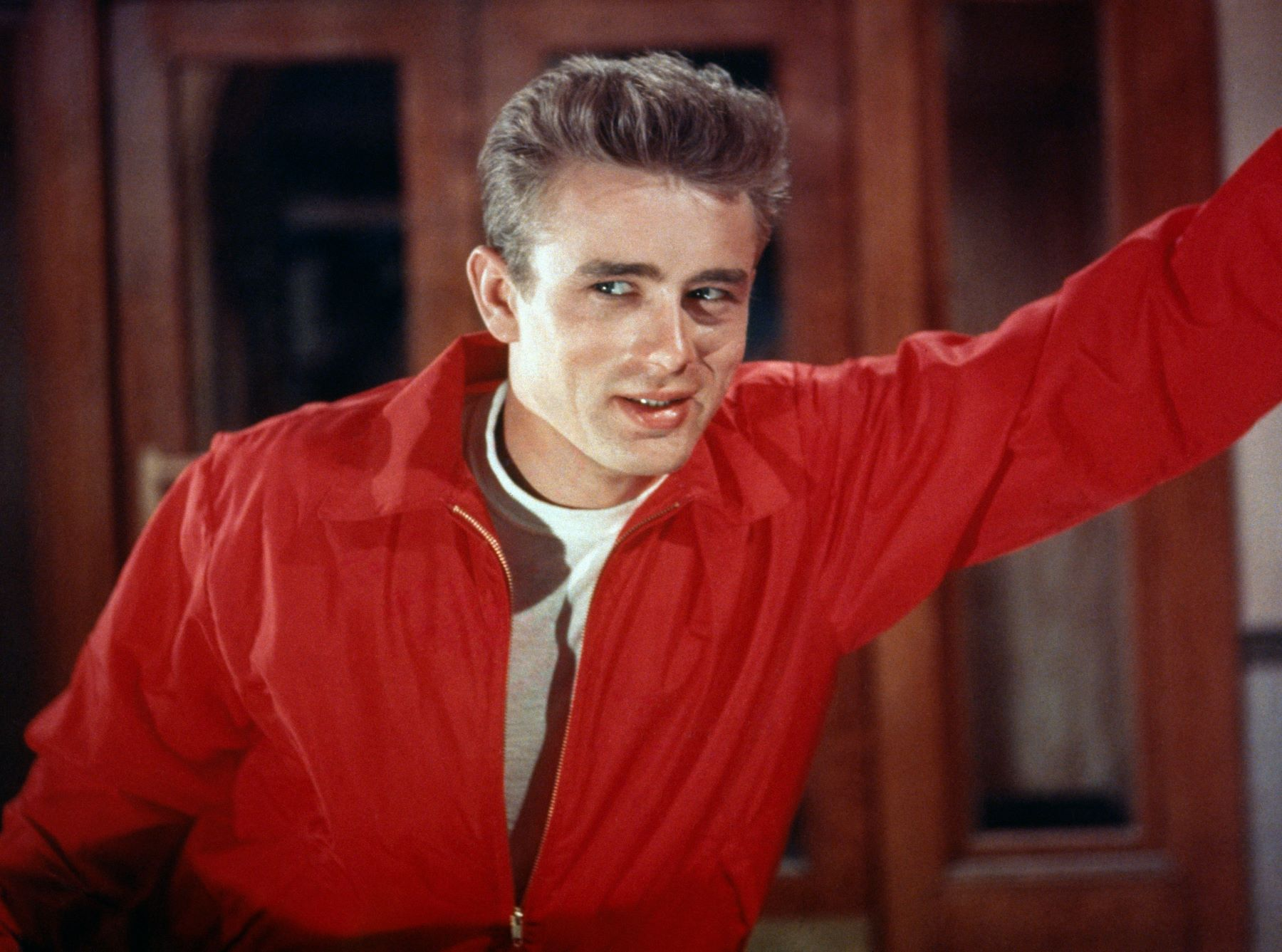 James Dean on the set of 'Rebel Without A Cause'