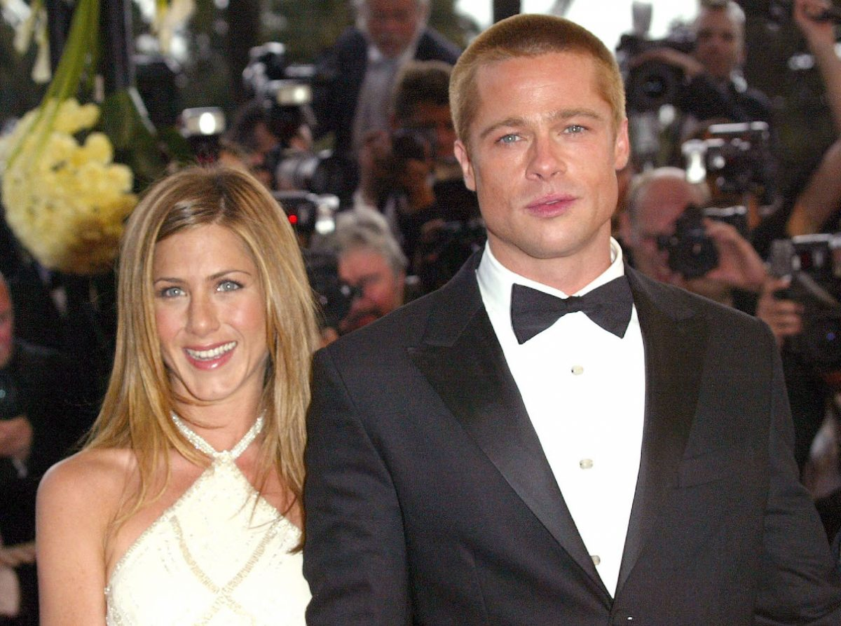 Jennifer Aniston and Brad Pitt attend the 2004 Cannes Film Festival premiere of 'Troy'