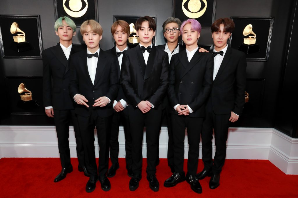 BTS members attend the Grammy Awards