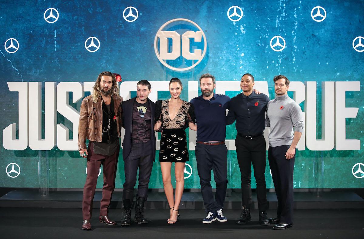 Jason Momoa, Ezra Miller, Gal Gadot, Ben Affleck, Ray Fisher, and Henry Cavill at a 'Justice League' photocall