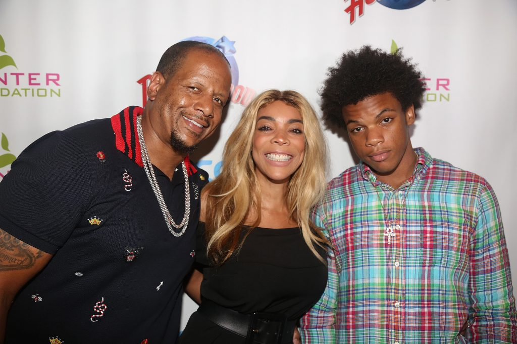 NEW YORK, NY - JULY 11: (EXCLUSIVE COVERAGE)(L-R) Kevin Hunter, wife Wendy Williams and son Kevin Hunter Jr pose at a celebration for The Hunter Foundation Charity that helps fund programs for families and youth communities in need of help and guidance at Planet Hollywood Times Square on July 11, 2017 in New York City.