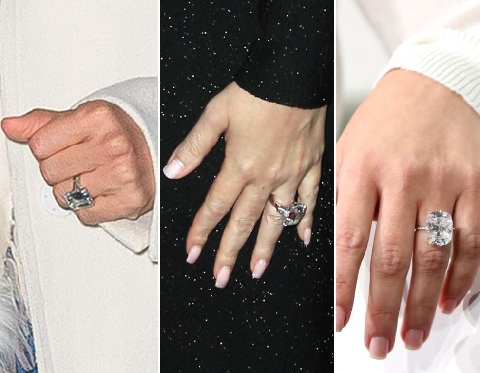 (L) Jennifer Lopez's engagement ring, (C) Mariah Carey's engagement ring, (R) Kim Kardashian West's Engagement ring