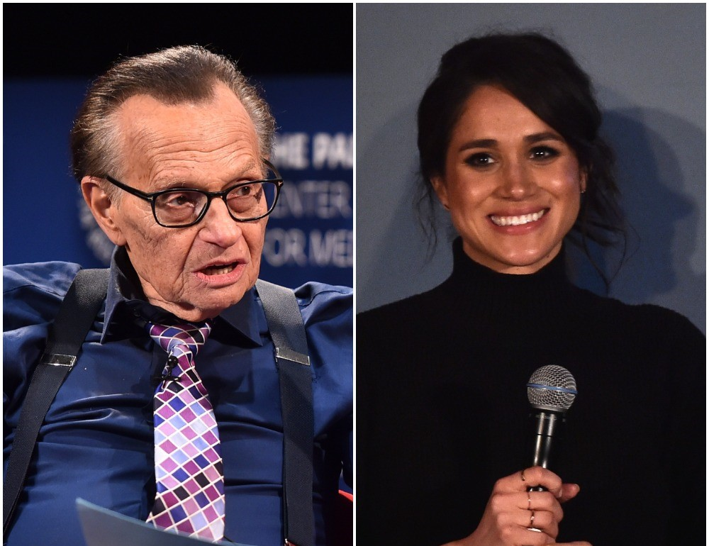 (L) Larry King, (R) Meghan Markle