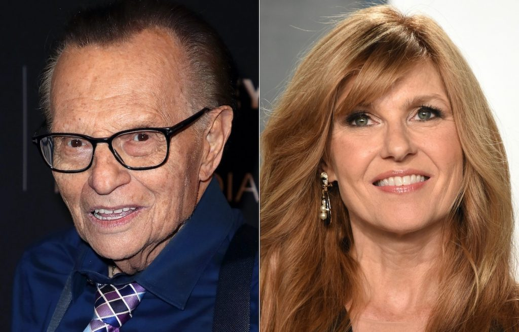 Larry King (L) and Connie Britton (R) | David Livingston/John Shearer/Getty Images
