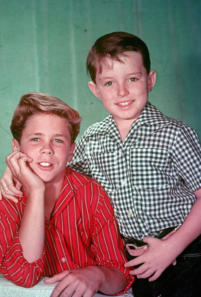 Promotional studio portrait of actors Tony Dow (L) and Jerry Mathers from the television series, 'Leave It to Beaver,' circa 1957