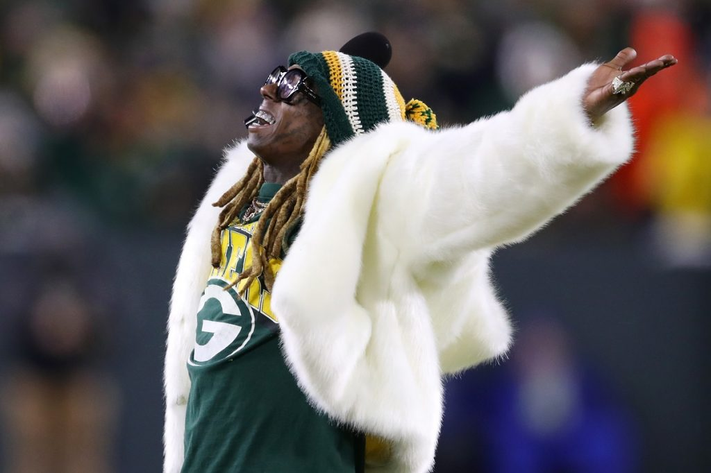 Lil Wayne performs during the NFC Divisional Playoff game on Jan. 12, 2020