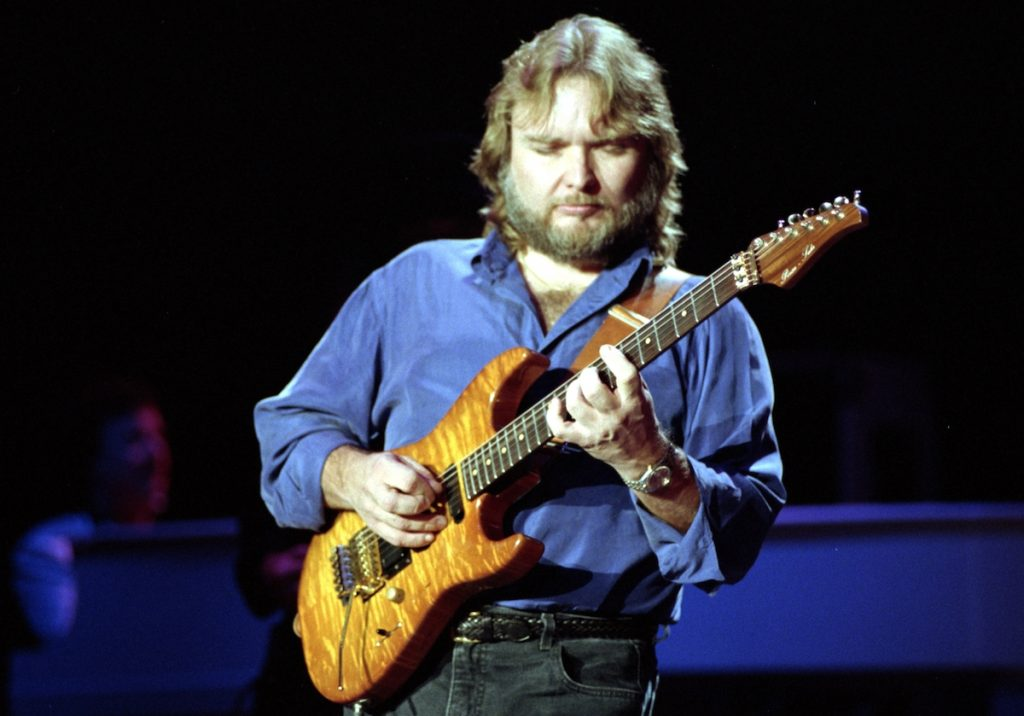 Ed King of Lynyrd Skynyrd performs at Shoreline Amphitheatre on August 31, 1991 in Mountain View California.