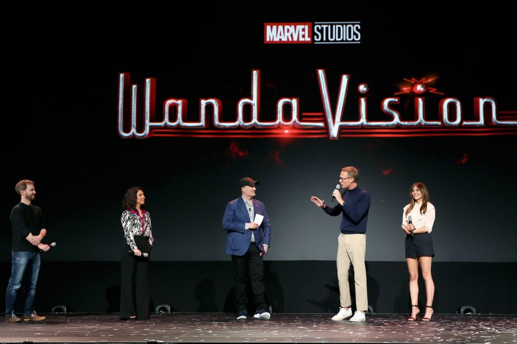 Director Matt Shakman and Head writer Jac Schaeffer of 'WandaVision' President of Marvel Studios Kevin Feige, and Paul Bettany and Elizabeth Olsen of 'WandaVision'