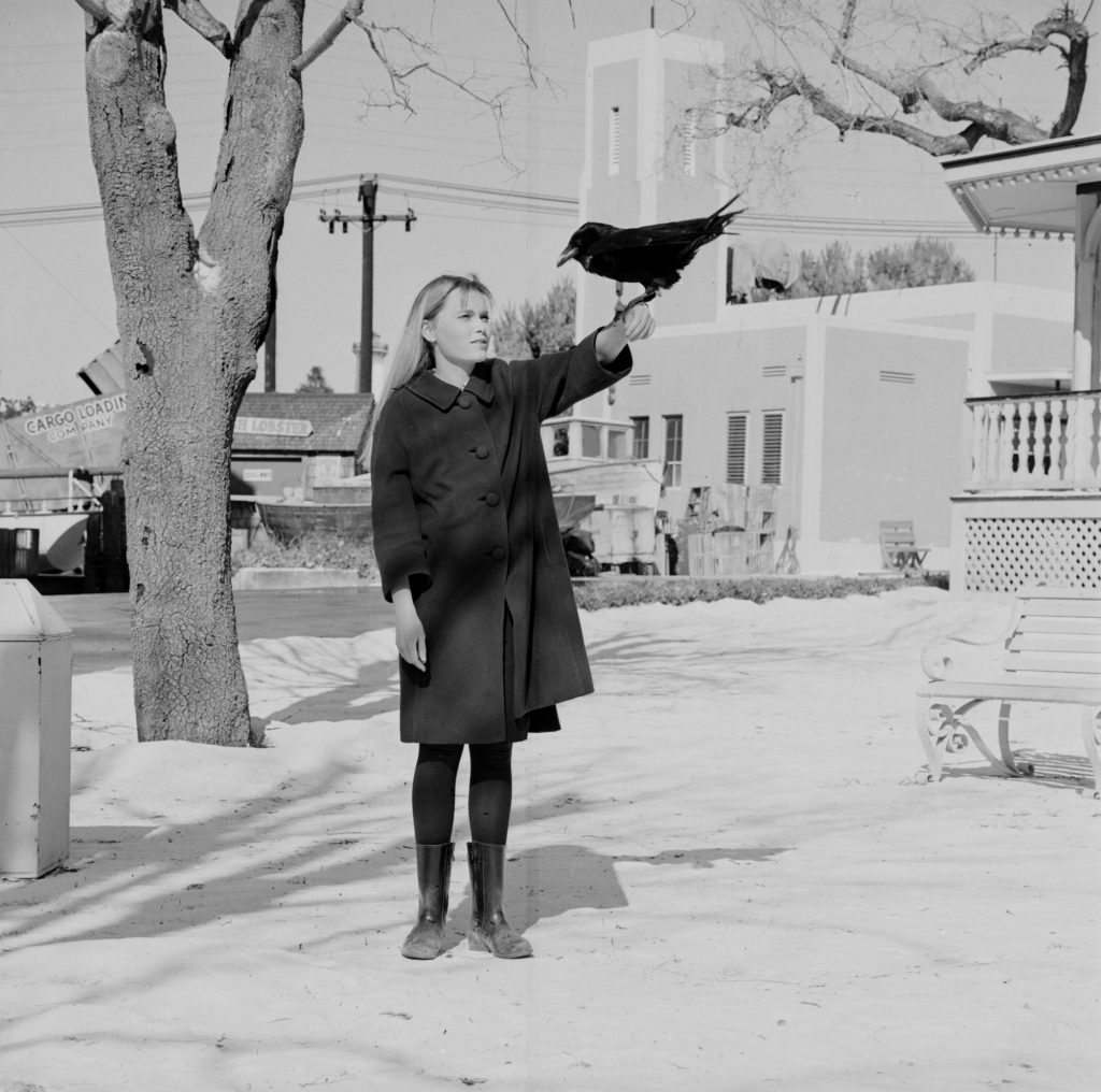 Mia Farrow posed with a crow perched on her arm