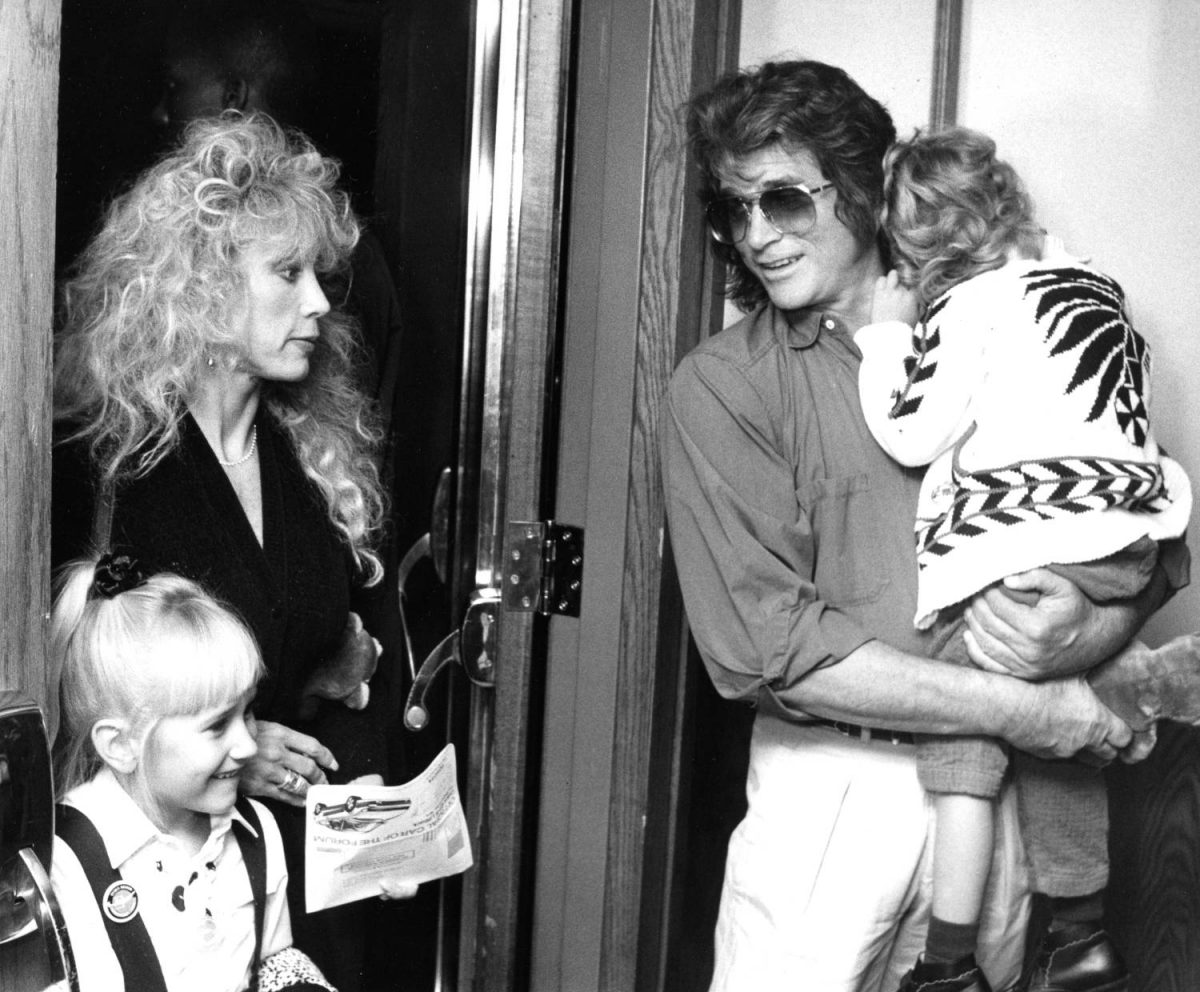 INGLEWOOD, CA - MARCH 14: Actor Michael Landon, wife Cindy Clerico, daughter Jennifer Landon and son Sean Landon attend the opening of the Moscow Circus on March 14, 1990 at the Great Western Forum in Inglewood, California.
