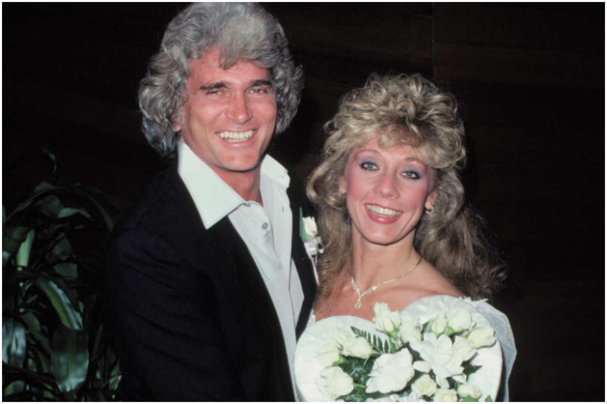 Malibu, California: Actor-producer Michael Landon and Cindy Clerico were married today in an afternoon ceremony conducted in his Malibu, California home. Judge Ray Cardenes performed the ceremonies, which were attended by thirty friends and family members, including his four children by his second marriage. A reception for more than three hundred friends followed the wedding at a Malibu Restaurant. Photo shows the Landons posing after the ceremony.