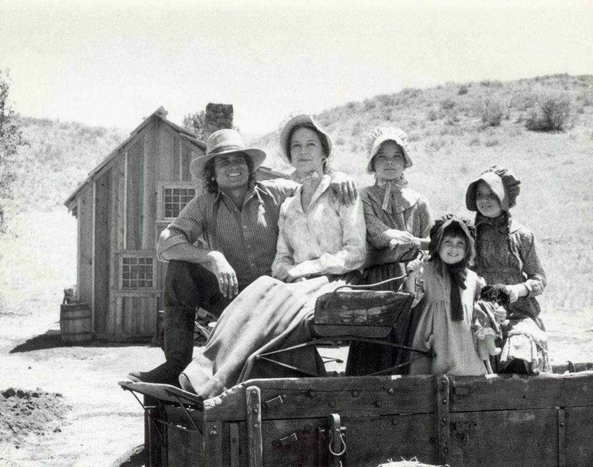 "Picture shows the Ingalls family from the TV Series, ""Little House on the Prairie."" Left to right; Michael Landon(Charles Ingalls), Karen Grassle(Caroline Ingalls), Melissa Sue Anderson(Mary Ingalls), Sidney and Lindsey Greenbush(shared role of Carrie Ingalls), and Melissa Gilbert(Laura Ingalls). Undated photo circa 1970s"