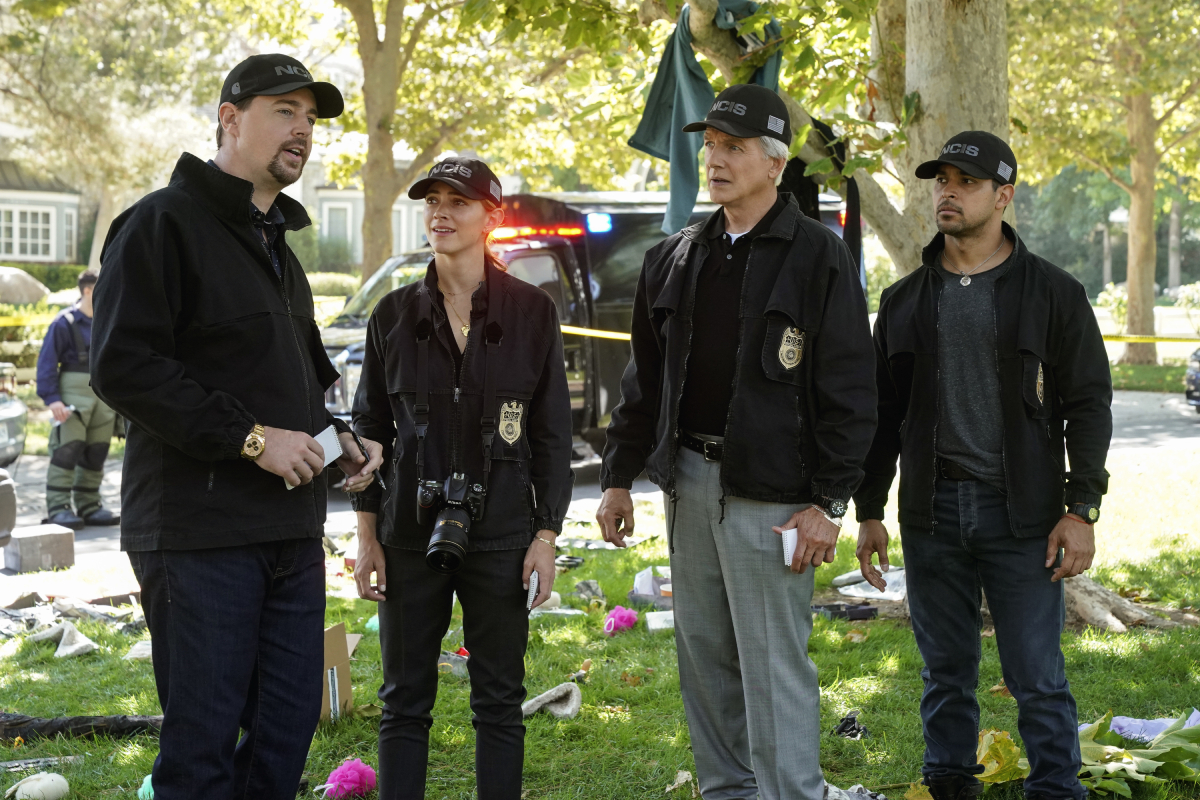 'NCIS' stars Sean Murray, Emily Wickersham, Mark Harmon, Wilmer Valderrama in 2018