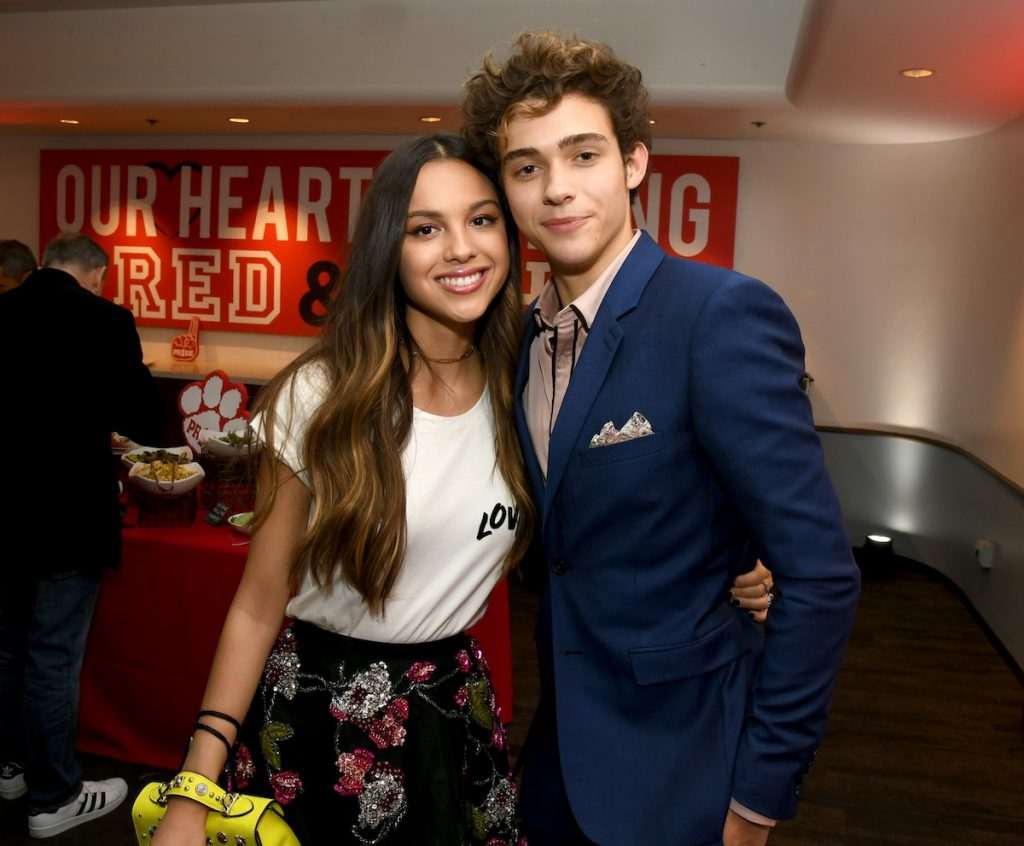 """Olivia Rodrigo (L) and Joshua Bassett pose at the after party for the premiere of Disney+'s """"High School Musical: The Musical: The Series"""" at the Walt Disney Studio lot on November 01, 2019 in Burbank, California 