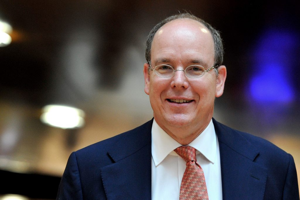 Prince Albert II of Monaco enters the presentation room for the 3rd Summer Youth Olympic Games in 2018 bid on July 4, 2013 in Lausanne, Switzerland.