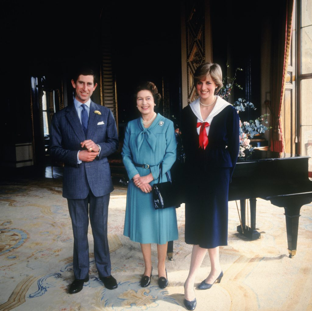 Prince Charles, Queen Elizabeth, and Princess Diana
