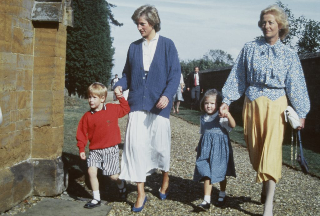 Diana, Princess of Wales with her son Prince Harry and her mother Frances Shand Kydd