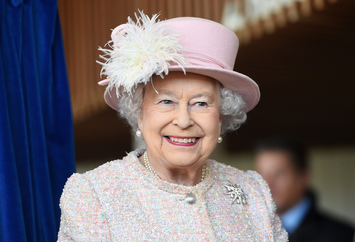 Queen Elizabeth II is seen at the Chichester Theatre while visiting West Sussex on November 30, 2017 in Chichester, United Kingdom