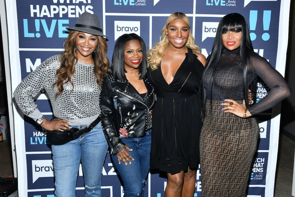 'RHOA' cast members Kandi Burruss, Cynthia Bailey, and Marlo Hampton with former cast member Nene Leakes