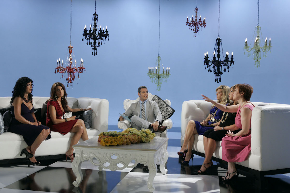 Teresa Giudice, Danielle Staub, host Andy Cohen, Dina Manzo, Jacqueline Laurita, Caroline Manzo