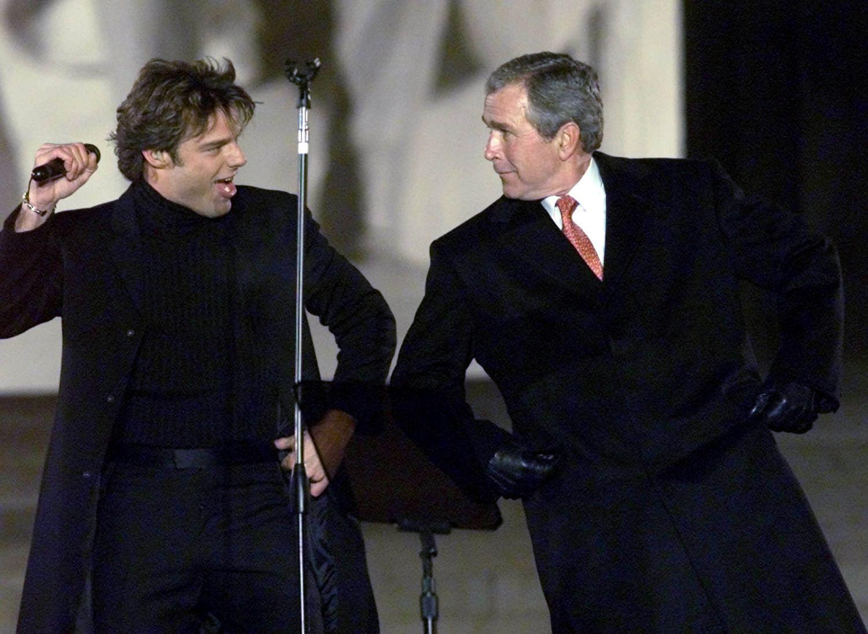 Ricky Martin and President George W. Bush