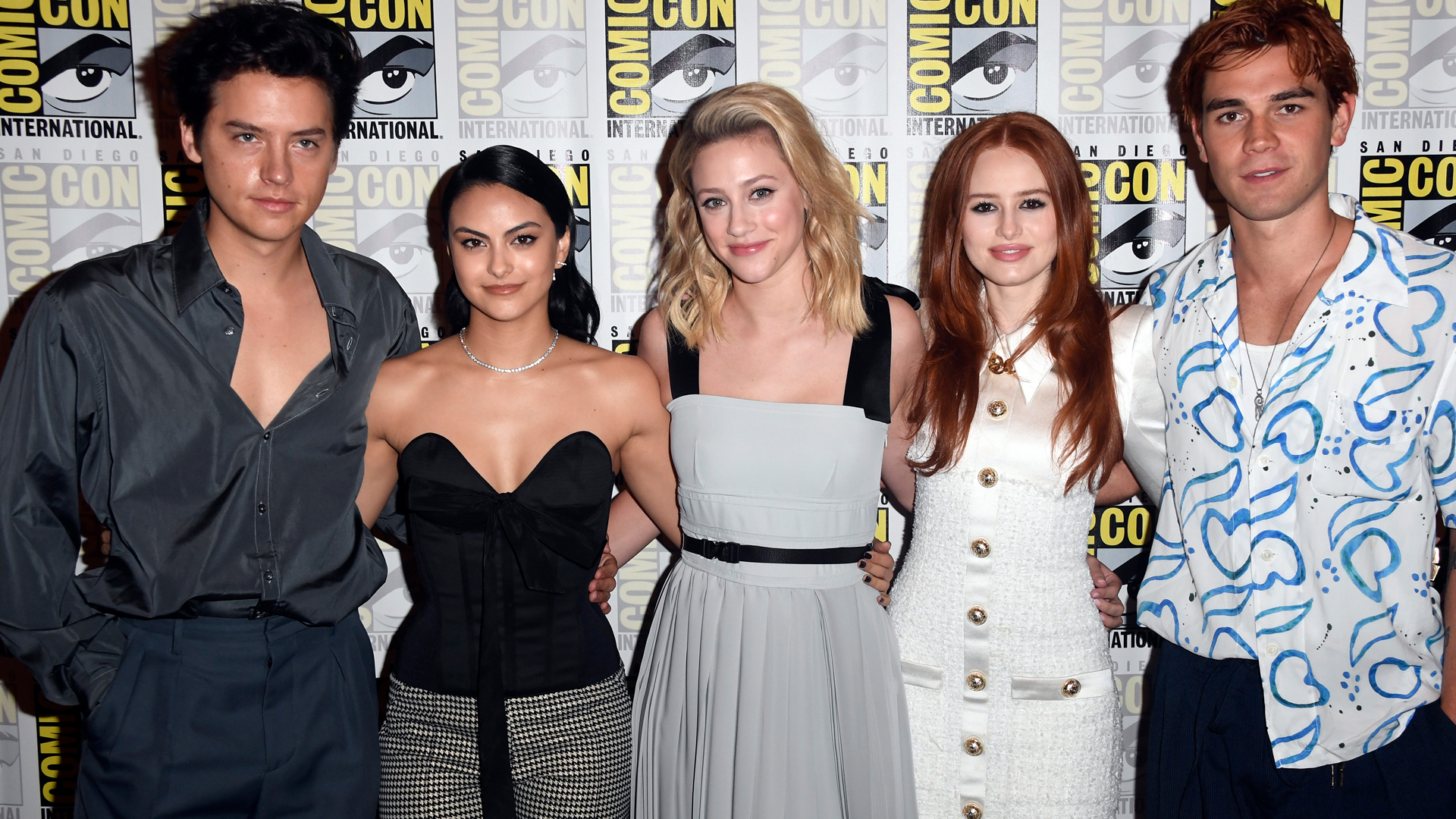 Cole Sprouse, Camila Mendes, Madelaine Petsch, Lili Reinhart, and KJ Apa from 'Riverdale' at 2019 Comic-Con in San Diego, CA