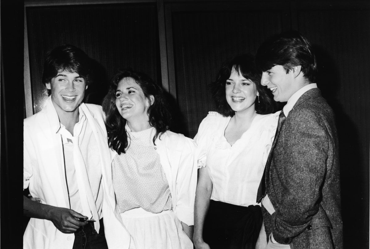Rob Lowe, Melissa Gilbert, Michelle Meyrink and Tom Cruise at party