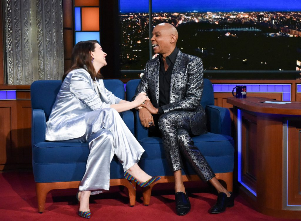 'The Late Show with Stephen Colbert' guests Anne Hathaway and RuPaul Charles