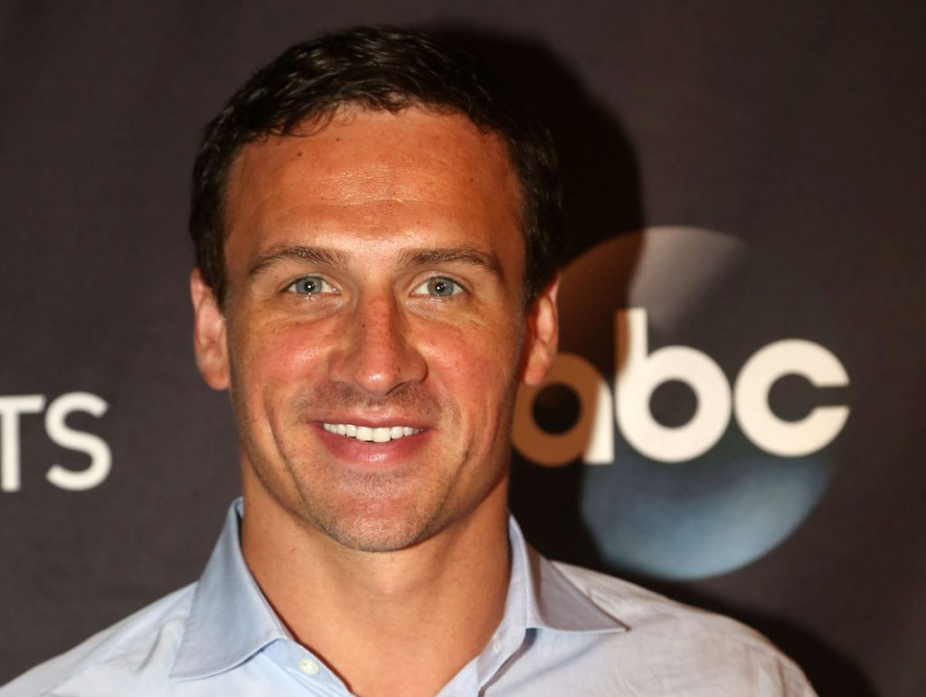"""Ryan Lochte poses as Season 23 of """"Dancing With The Stars"""" meets the press at Planet Hollywood Times Square on September 7, 2016 in New York City."""