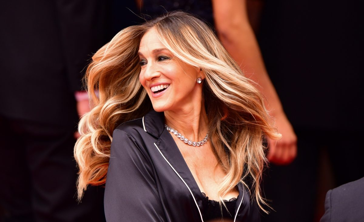 Sarah Jessica Parker seen filming a commercial in Manhattan for Italian lingerie brand Intimissimi