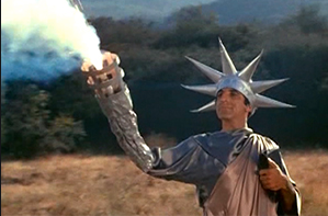 Jamie Farr as Max Klinger wearing his Statue of Liberty gown