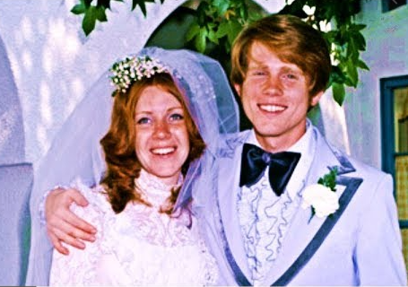 Cheryl and Ron Howard on their 1975 wedding day