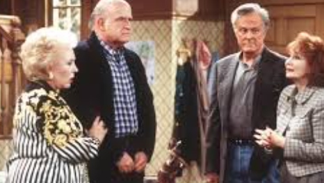 (L to R): Doris Roberts and Peter Boyle as Marie and Frank Barone and Robert Culp and Katherine Helmond as Warren and Lois Whelan on 'Everybody Loves Raymond'