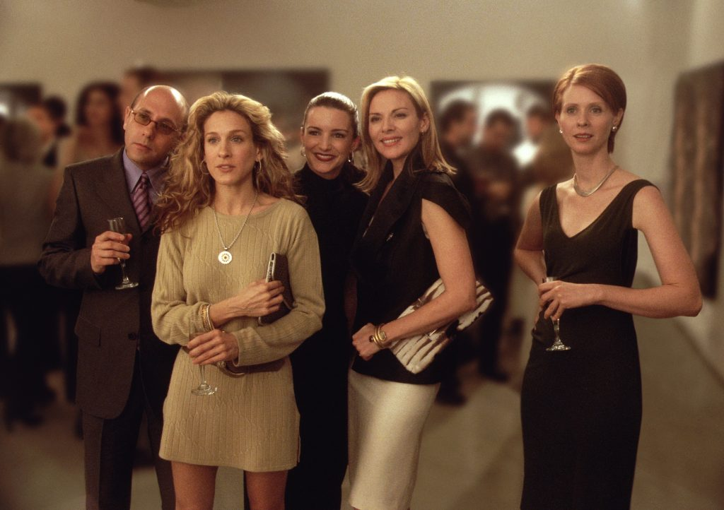 Willie Garson as Stanford, Sarah Jessica Parker as Carrie, Kristin Davis as Charlotte, Kim Cattrall as Samantha and Cynthia Nixon as Miranda in a scene from 'Sex and the City'