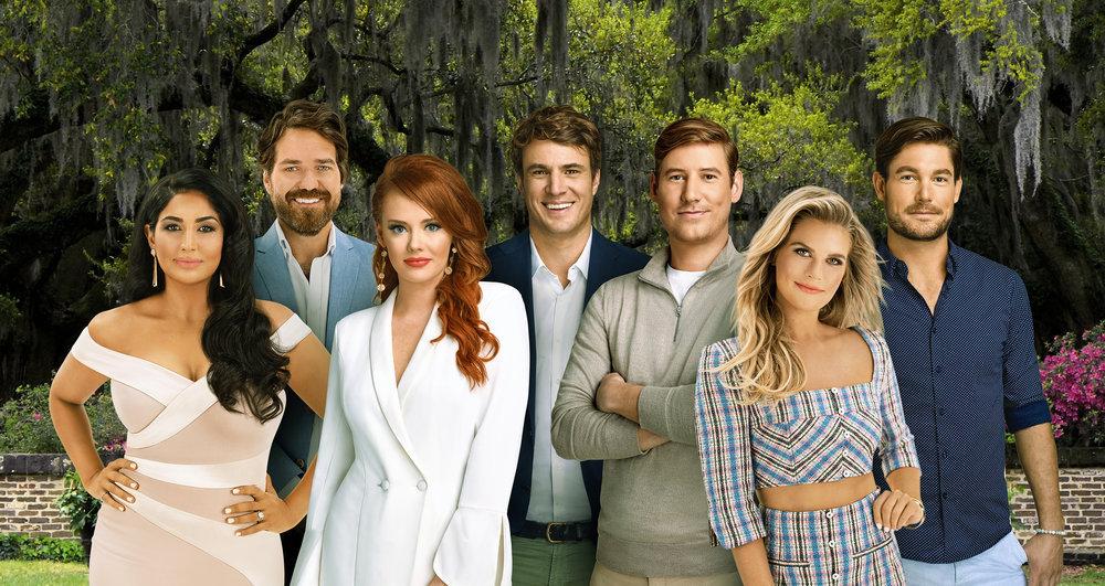 Leva Bonaparte, John Pringle, Kathryn Dennis, Shep Rose, Austen Kroll, Madison LeCroy, and Craig Conover of Southern Charm Season 7