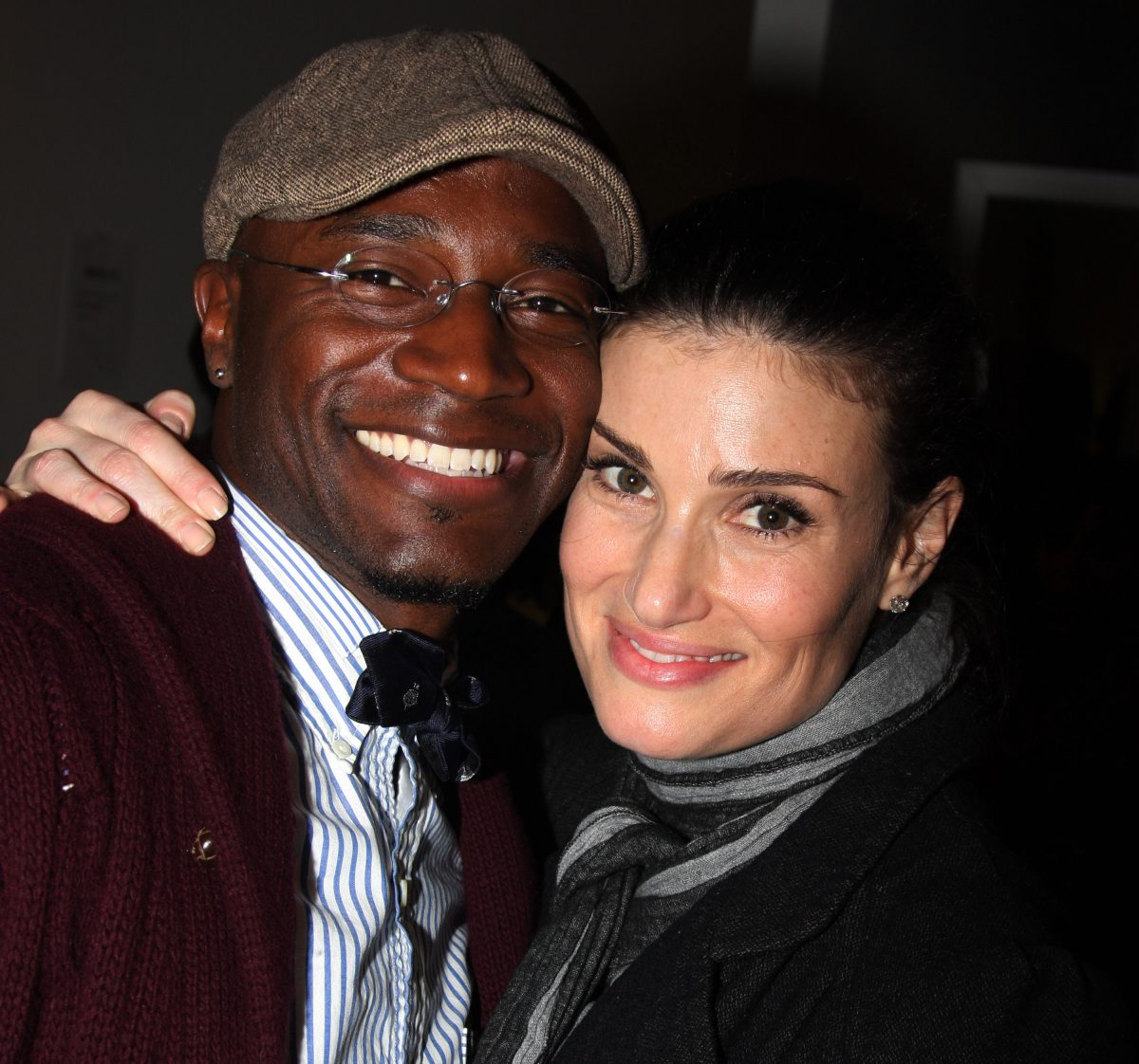 Taye Diggs and Idina Menzel pose during the opening night party for the world premiere of 'Minsky's' held at Ahmanson Theatre on February 6, 2009 in Los Angeles, California.