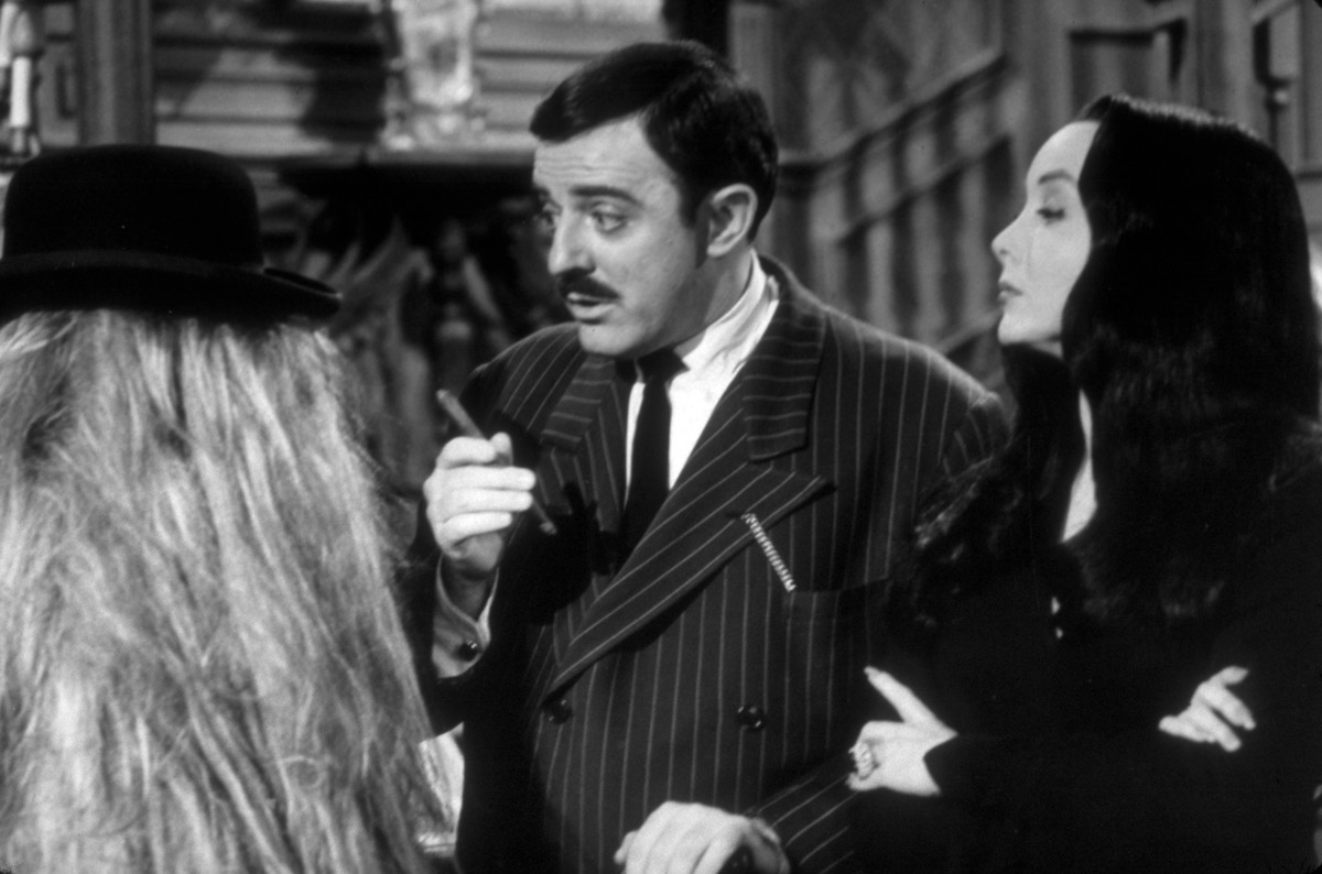 Felix Silla, John Astin, and Carolyn Jones on 'The Addams Family'
