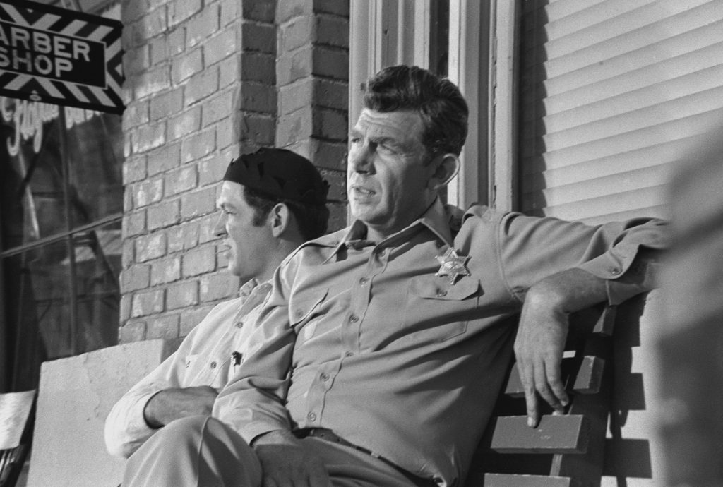 Andy Griffith on the set of The Andy Griffith Show