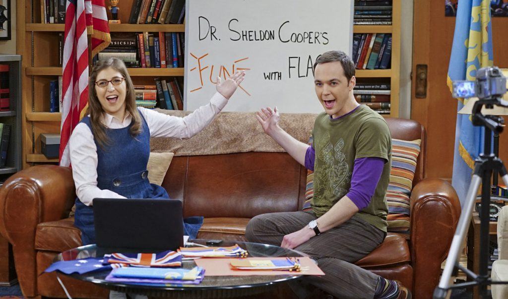 Sheldon (Jim Parsons, right) and Amy (Mayim Bialik, left) host a live Valentine's Day episode of Fun with Flag, on THE BIG BANG THEORY